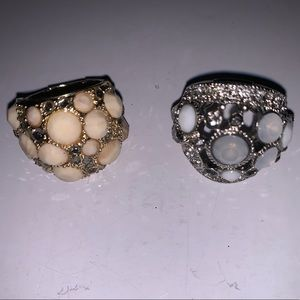 Gold and silver stretchy rings